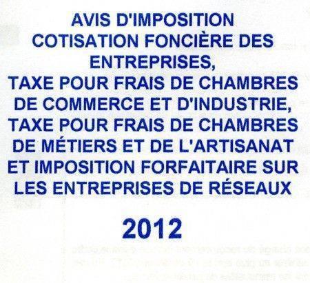 Avis imposition cfe 2012 - Chambre des metiers inscription auto entrepreneur ...