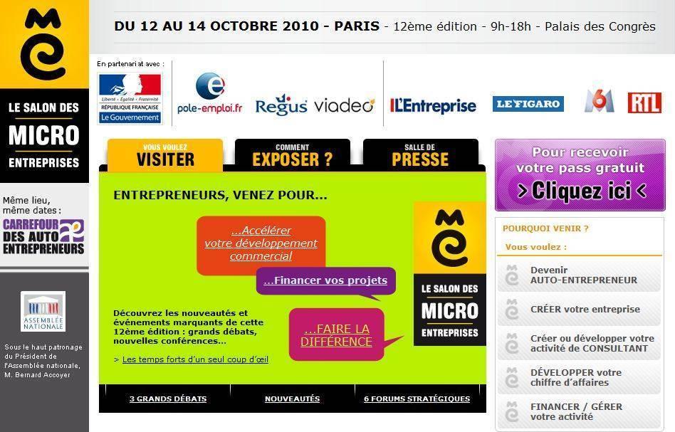 Copie d ecran du site forum auto entrepreneur - Salon des micro entreprise ...