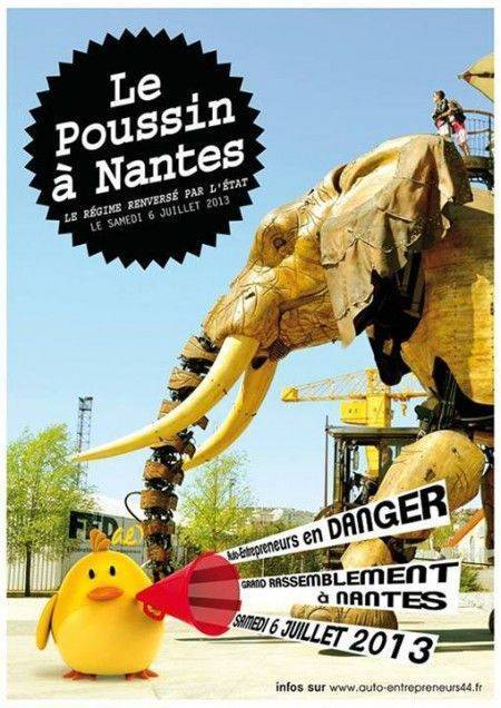 La manifestation nationale des poussins pour la défense du statut auto entrepreneur aura lieu le samedi 6 juillet 2013 à Nantes !