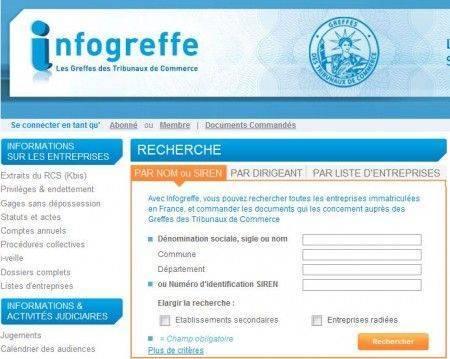 Copie d'écran du site Infogreffe qui propose une offre gratuite pour les auto entrepreneurs