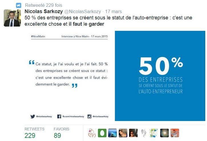Tweet sarkozy autoentreprise for Idee auto entrepreneur sans diplome